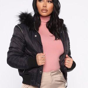 A black cropped puffer jacket/coat w/hood